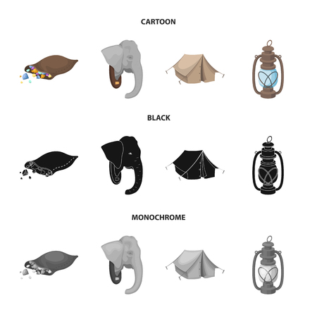 A bag of diamonds, an elephant head, a kerosene lamp, a tent. African safari set collection icons in cartoon,black,monochrome style vector symbol stock illustration web.