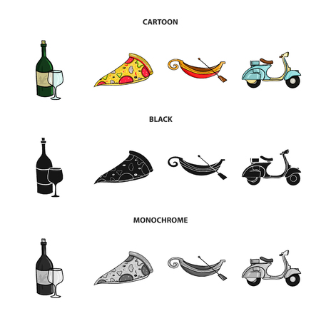 A bottle of wine, a piece of pizza, a gundola, a scooter. Italy set collection icons in cartoon,black,monochrome style vector symbol stock illustration web.