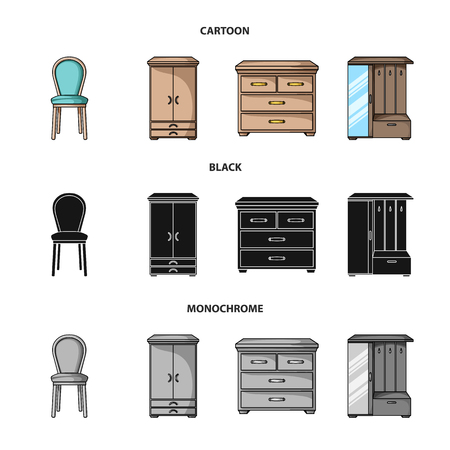 Armchair, cabinet, bedside, table .Furniture and home interiorset collection icons in cartoon,black,monochrome style vector symbol stock illustration web.