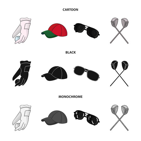 A glove for playing golf with a ball, a red cap, sunglasses, two clubs. Golf Club set collection icons in cartoon,black,monochrome style vector symbol stock illustration web.