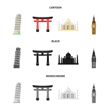 Sights of different countries cartoon,black,monochrome icons in set collection for design. Famous building vector symbol stock web illustration.