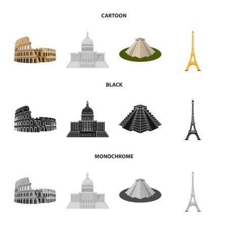 Sights of different countries cartoon,black,monochrome icons in set collection for design. Famous building vector symbol stock web illustration. 矢量图片