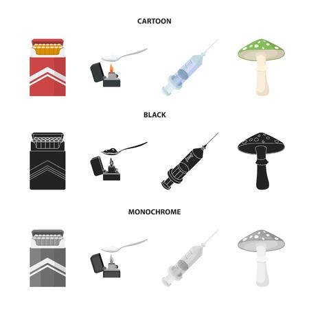 Cigarrillos, una jeringa, un hongo galoucinógeno, heroína en una cuchara. Drogas configurar los iconos de la colección en la web de dibujos animados, negro, monocromo estilo vector símbolo stock de ilustración. Ilustración de vector