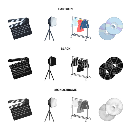 Movies, discs and other equipment for the cinema. Making movies set collection icons in cartoon,black,monochrome style vector symbol stock illustration web.