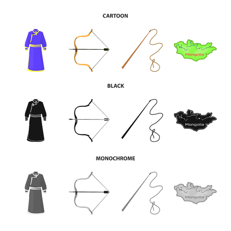 .mongol dressing gown, battle bow, theria on the map, Urga, Khlyst. Mongolia set collection icons in cartoon,black,monochrome style vector symbol stock illustration web.