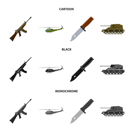 Assault rifle M16, helicopter, tank, combat knife. Military and army set collection icons in cartoon,black,monochrome style vector symbol stock illustration web.