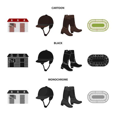 Boots, grass, stadium, track, rest .Hippodrome and horse set collection icons in cartoon,black,monochrome style vector symbol stock illustration web. Ilustração