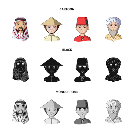 Arab, turks, vietnamese, middle asia man. Human race set collection icons in cartoon,black,monochrome style vector symbol stock illustration web. Illustration