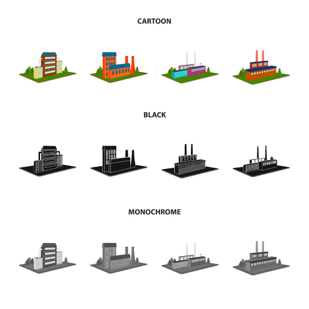 Processing factory,metallurgical plant. Factory and industry set collection icons in cartoon,black,monochrome style isometric vector symbol stock illustration web. Vettoriali
