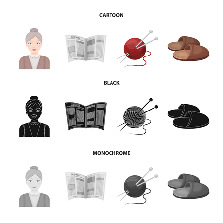An elderly woman, slippers, a newspaper, knitting.Old age set collection icons in cartoon,black,monochrome style vector symbol stock illustration web. Illustration