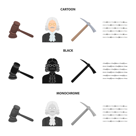 Judge, wooden hammer, barbed wire, pickaxe. Prison set collection icons in cartoon,black,monochrome style vector symbol stock illustration web.