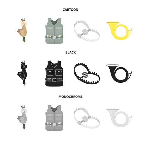 A trophy in his hand, a steel trap, a hunting vest with patronage, a horn..Hunting set collection icons in cartoon,black,monochrome style vector symbol stock illustration web.
