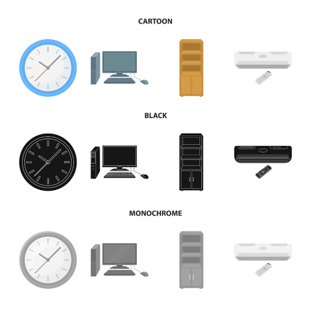 Clock with arrows, a computer with accessories for work in the office, a cabinet for storing business papers, air conditioning with remote control. Office Furniture set collection icons in cartoon,black,monochrome style vector symbol stock illustration web.