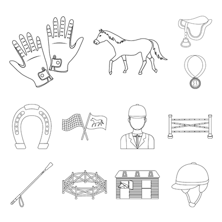 Hippodrome and horse outline icons in set collection for design. Horse Racing and Equipment vector symbol stock web illustration.