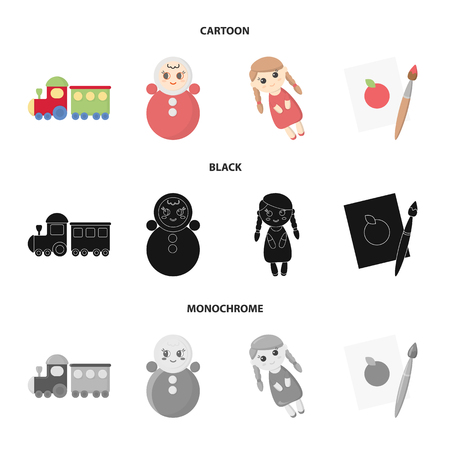 Train.kukla, picture.Toys set collection icons in cartoon,black,monochrome style vector symbol stock illustration web.
