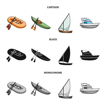A rubber fishing boat, a kayak with oars, a fishing schooner, a motor yacht.Ships and water transport set collection icons in cartoon,black,monochrome style vector symbol stock illustration web. Vector Illustration
