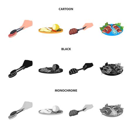Tang met biefstuk, gebakken vlees op een bolletje, schijfjes citroen en olijven, shish kebab op een bord met groenten. Voedsel en koken instellen collectie iconen in zwart, plat, zwart-wit stijl vector symbool stock illustratie web.