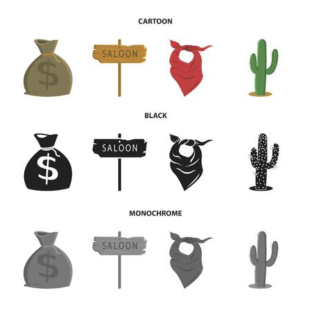 Bag of money, saloon, cowboy kerchief, cactus. Wild west set collection icons in cartoon,black,monochrome style vector symbol stock illustration web.