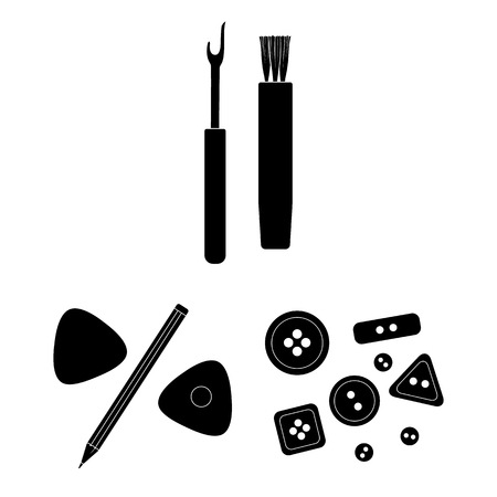Sewing, atelier black icons in set collection for design. Tool kit bitmap symbol stock  illustration.