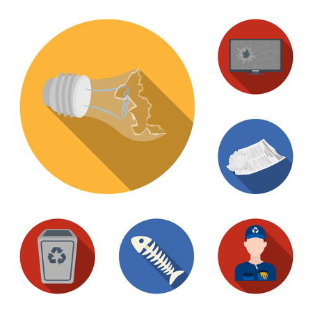 Garbage and waste flat icons in set collection for design. Cleaning garbage bitmap symbol stock  illustration.