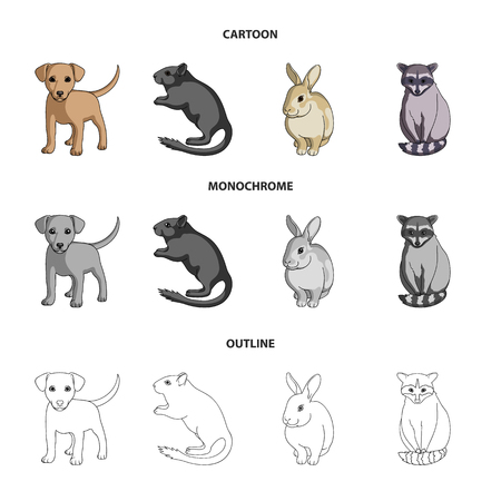 Puppy, rodent, rabbit and other animal species.Animals set collection icons in cartoon,outline,monochrome style bitmap symbol stock illustration . Stock Photo