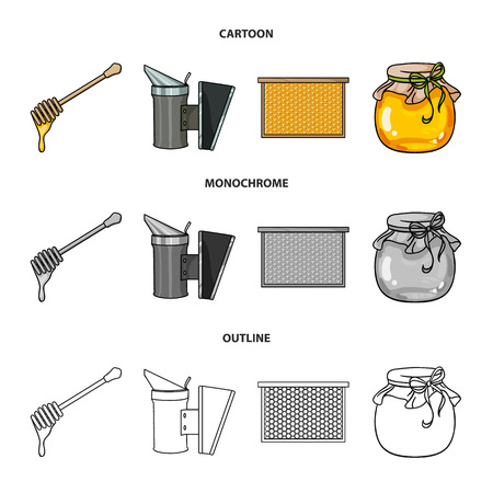A frame with honeycombs, a ladle of honey, a fumigator from bees, a jar of honey.Apiary set collection icons in cartoon,outline,monochrome style bitmap symbol stock illustration .