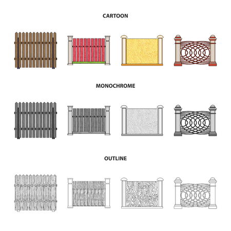 A fence of metal and bricks,wooden palisade. A different fence set collection icons in cartoon,outline,monochrome style bitmap symbol stock illustration web.