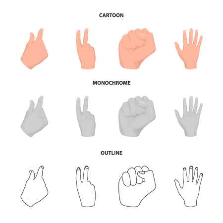 Open fist, victory, miser. Hand gesture set collection icons in cartoon,outline,monochrome style bitmap symbol stock illustration web. Фото со стока