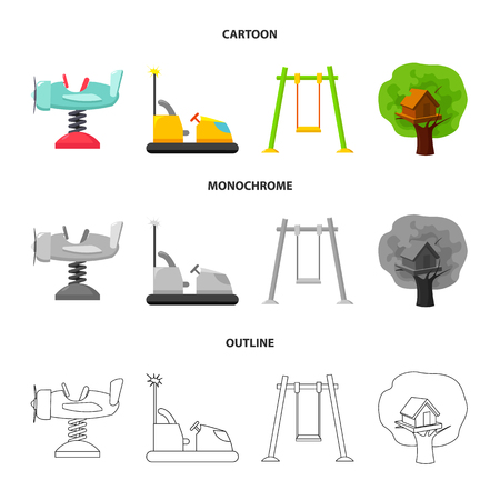 Airplane on a spring, swings and other equipment. Playground set collection icons in cartoon,outline,monochrome style bitmap symbol stock illustration web. Banque d'images