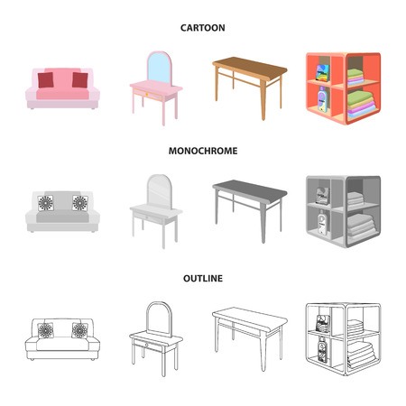Soft sofa, toilet make-up table, dining table, shelving for laundry and detergent. Furniture and interior set collection icons in cartoon,outline,monochrome style isometric bitmap symbol stock illustration web. Imagens