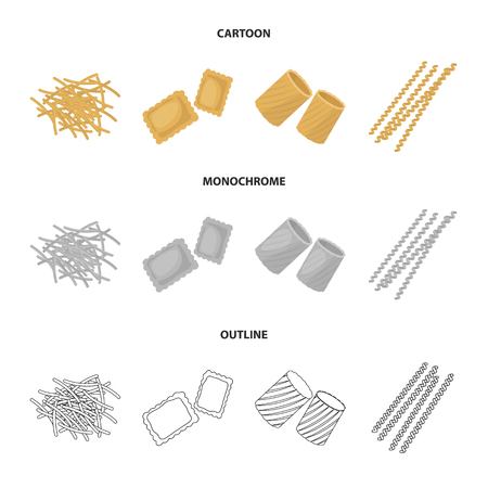 Different types of pasta. Types of pasta set collection icons in cartoon,outline,monochrome style bitmap symbol stock illustration web. Stock Illustration - 106122333