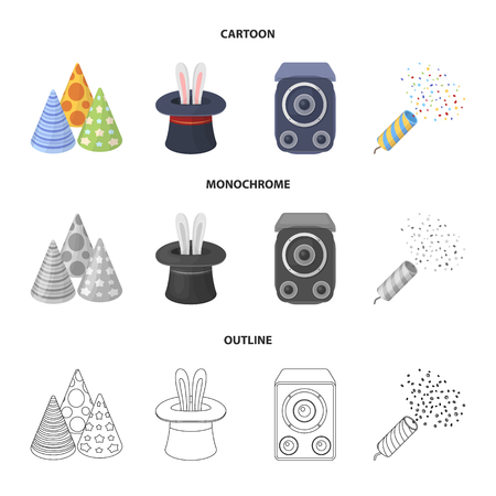 Tricks, music and other accessories at the party.Party and partits set collection icons in cartoon,outline,monochrome style bitmap symbol stock illustration web.
