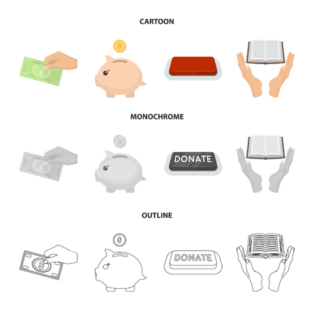 Hand with money for poshestvovaniya, a piggy bank for charity, a button with an inscription, a book for the blind in their hands. Charity and donation set collection icons in cartoon,outline,monochrome style bitmap symbol stock illustration web.