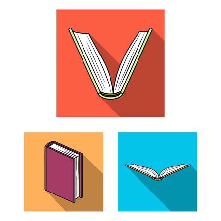 Book bound flat icons in set collection for design. Printed products vector symbol stock web illustration. Stock Illustratie