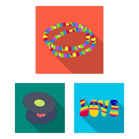 Glückliche und Attribut flache Symbole in der Set-Sammlung für Design. Glückliche und Zubehörvektorsymbolvorrat-Webillustration.