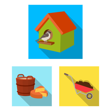 Farm and agriculture flat icons in set collection for design. Garden and plants isometric vector symbol stock web illustration. Ilustracja