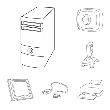 Personal computer outline icons in set collection for design. Equipment and accessories vector symbol stock web illustration. Ilustração