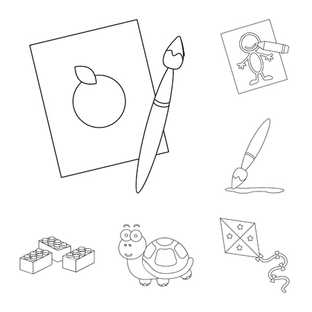 Children toy outline icons in set collection for design. Game and bauble vector symbol stock web illustration. 矢量图片
