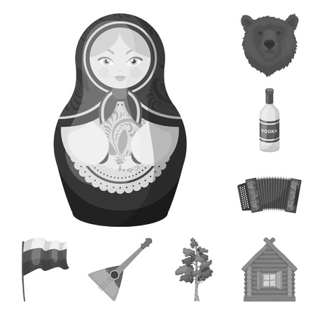 Country Russia, travel monochrome icons in set collection for design. Attractions and features vector symbol stock web illustration.