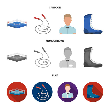 Ring, rope, referee, sneakers Boxing set collection icons in cartoon,flat,monochrome style vector symbol stock illustration web.