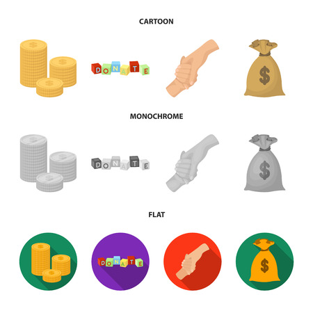 A pile of coins for donations, colored cubes with an inscription, a handshake, a bag of money for donations. Charity and donation set collection icons in cartoon,flat,monochrome style vector symbol stock illustration web.