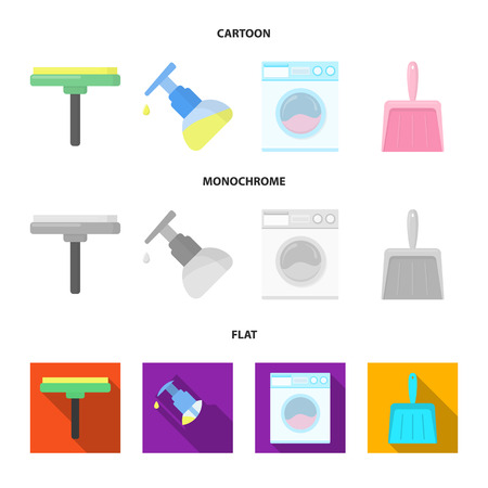 Cleaning and maid cartoon,flat,monochrome icons in set collection for design. Equipment for cleaning vector symbol stock web illustration.