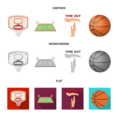 Basketball and attributes cartoon,flat,monochrome icons in set collection for design.Basketball player and equipment vector symbol stock web illustration.