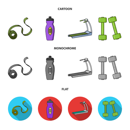 Measuring tape, water bottle, treadmill, dumbbells. Fitnes set collection icons in cartoon,flat,monochrome style vector symbol stock illustration web. Stock Illustratie