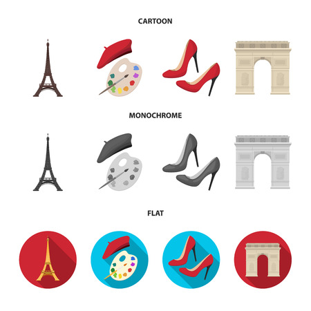 Eiffel tower, brush, hat .France country set collection icons in cartoon,flat,monochrome style vector symbol stock illustration web.