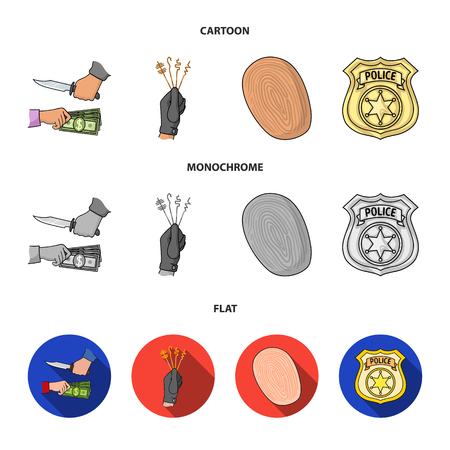 Robbery attack, fingerprint, police officer badge, pickpockets.Crime set collection icons in cartoon,flat,monochrome style vector symbol stock illustration web. Illustration