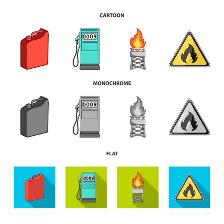 Canister for gasoline, gas station, tower, warning sign. Oil set collection icons in cartoon,flat,monochrome style vector symbol stock illustration web. Иллюстрация