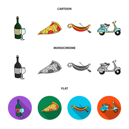 A bottle of wine, a piece of pizza, a gundola, a scooter. Italy set collection icons in cartoon,flat,monochrome style vector symbol stock illustration web.