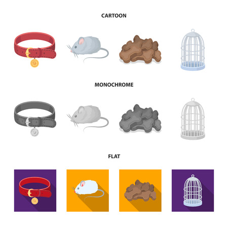 A collar, a forage, a toy, a cage and other products of the zoo store.Pet shop set collection icons in cartoon,flat,monochrome style vector symbol stock illustration web. Stock fotó - 106314070