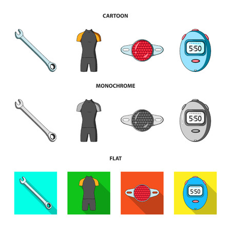 A wrench, a bicyclist bone, a reflector, a timer.Cyclist outfit set collection icons in cartoon,flat,monochrome style vector symbol stock illustration web.